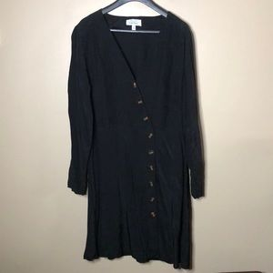 Paris atelier and other stories asymmetrical button long sleeve dress